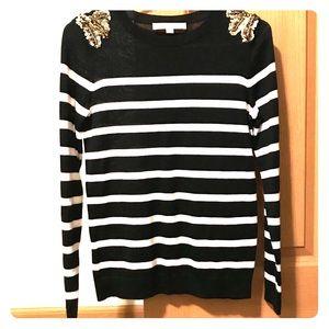 LOFT Black/White Striped Sweater